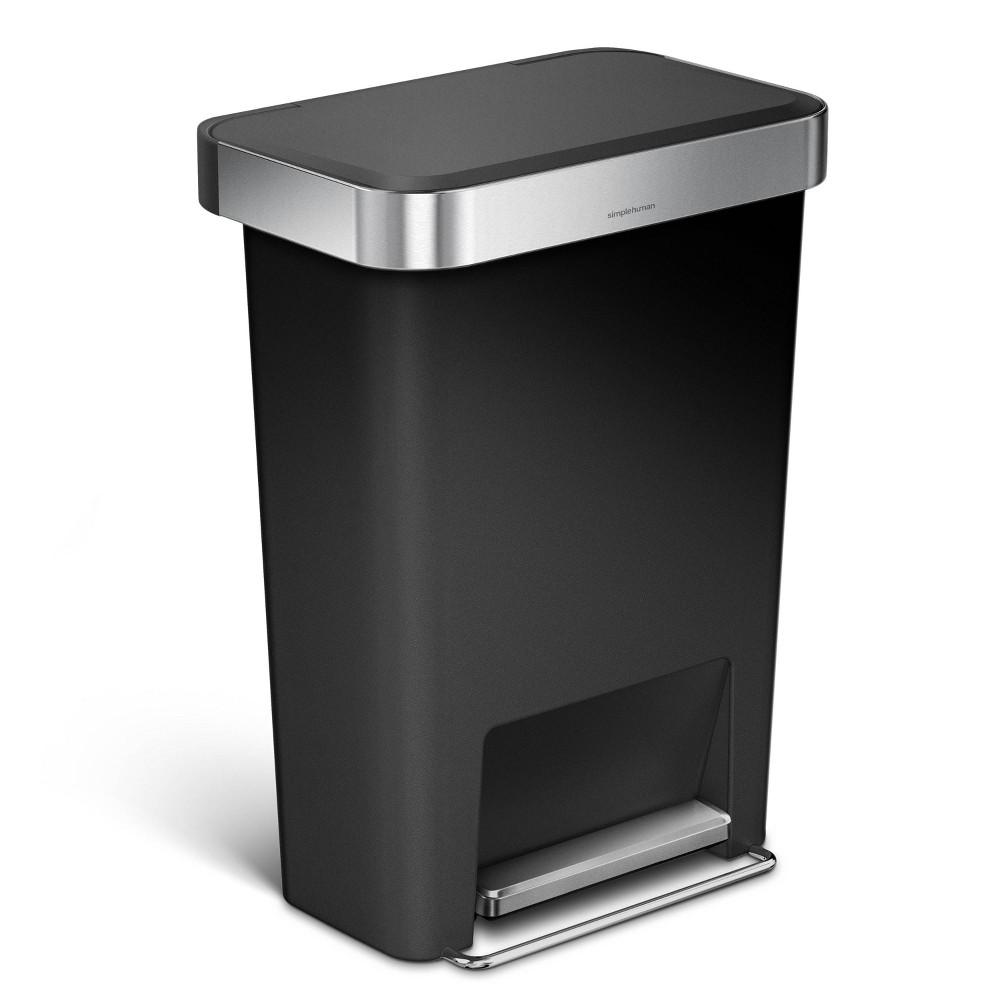 45L Rectangular Plastic Step Can Black - simplehuman