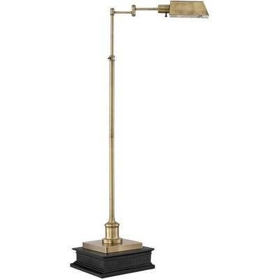 Regency Hill Jenson Aged Brass Adjustable Pharmacy Floor Lamp with Riser