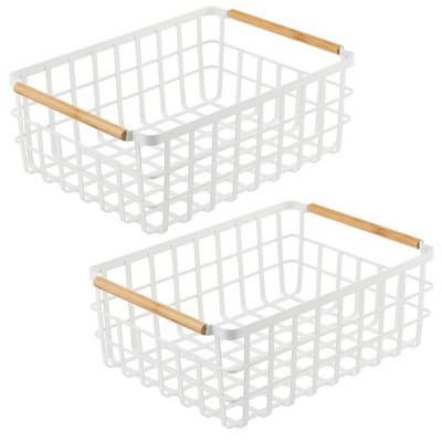 mDesign Metal Food Organizer Storage Bins with Bamboo Handles - 2 Pack