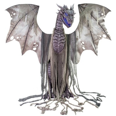 7' Halloween Animated Winter Dragon Prop