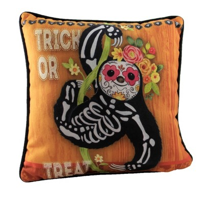 """Halloween 12.0"""" Day Of The Dead Pillow Floral Trick Or Treat  -  Decorative Pillow"""