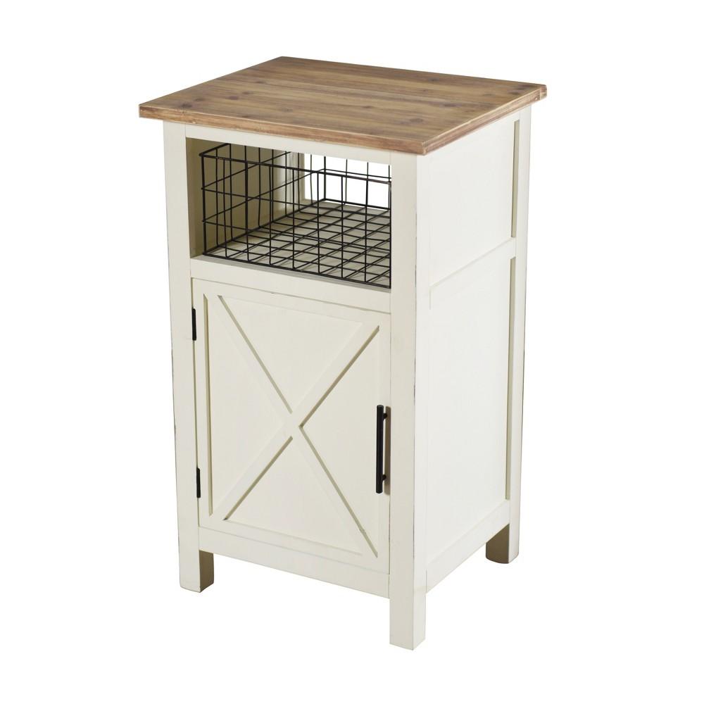 Quail Farm Single Door Side Table White - StyleCraft