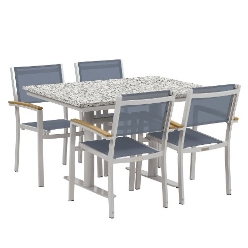 "Travira 5pc Patio Dining Set with 34""x48"" Table - Powder Coated Steel - Lite-Core Ash - Titanium Sling - Tekwood Natural - Oxford Garden - image 1 of 3"