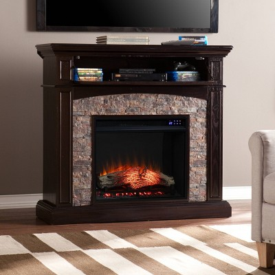Greenwood Convertible Touch Panel Electric Fireplace Black - Aiden Lane