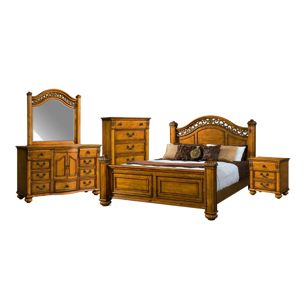 5pc Barrow King Poster Bedroom Set Oak - Picket House Furnishings, Brown
