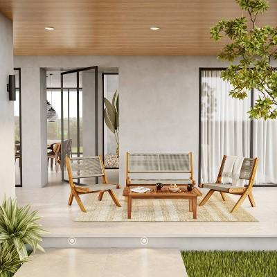 Acacia 4pc Outdoor Conversation Set with Folding Seating - Caramel - TK Classics