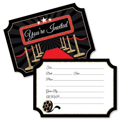 Big Dot of Happiness Red Carpet Hollywood - Shaped Fill-in Invitations - Movie Night Party Invitation Cards with Envelopes - Set of 12