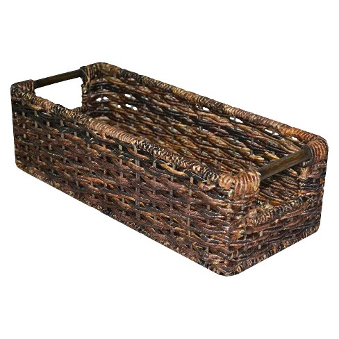 "4.75""x6.5"" Wicker Media Bin Dark Brown - Threshold™ - image 1 of 4"