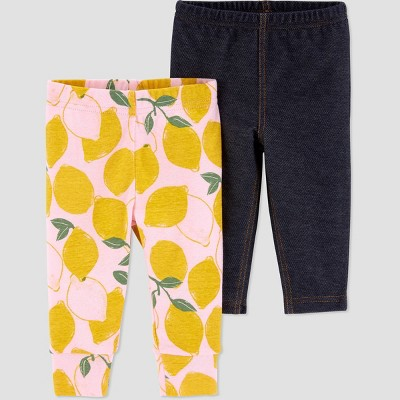 Baby Girls' 2pk Lemon Pull-On Pants - Just One You® made by carter's Yellow/Black Newborn
