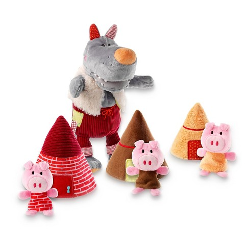 Lilliputiens Wolf Hand Puppet & 3 Little Pigs Puppet Set - image 1 of 1