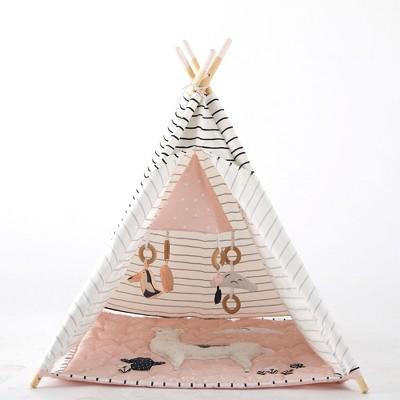 Asweets 1012001111 Indoor Baby Toddler Childrens Kids Foldable Canvas Activity Toy Teepee Play Tent House and Llama Floor Mat for Ages 6 Months and Up
