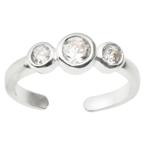 2/5 CT. T.W. Round-cut CZ Adjustable Bezel Set Toe Ring in Sterling Silver - image 1 of 2