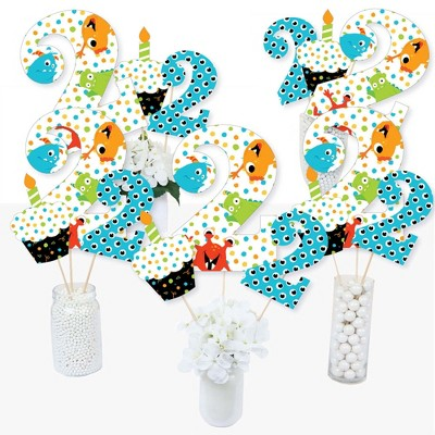 Big Dot of Happiness 2nd Birthday Monster Bash - Little Monster Second Birthday Party Centerpiece Sticks - Table Toppers - Set of 15