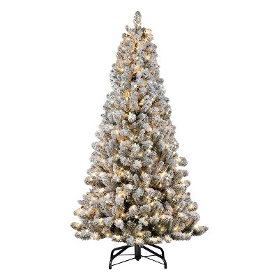 6.5ft Puleo Pre-lit Flocked Virginia Pine Christmas Tree with 300 Clear Incandescent Lights