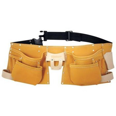 """WESTWARD 5MZL2 Carpenters Tool Apron w/Belt, Fits Up to 50"""", Leather"""