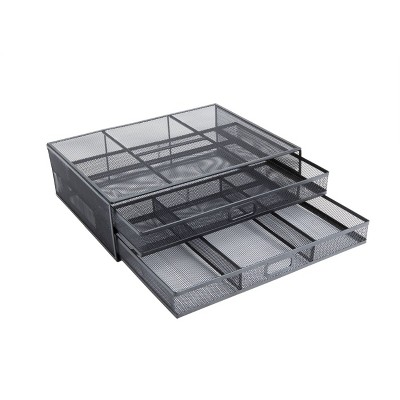Mind Reader Metal Desk Monitor Stand/Riser with 2 Organizer Drawers Black
