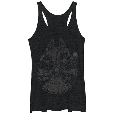 Women's Star Wars Millennium Falcon Outline Racerback Tank Top