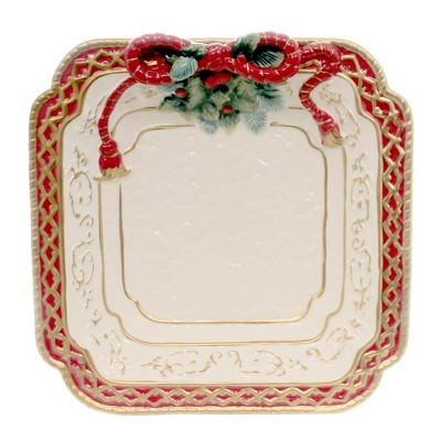 "Tabletop 11.25"" Poinsettia Dessert Plate Christmas Dinner Cosmos Gifts Corp.  -  Serving Platters"