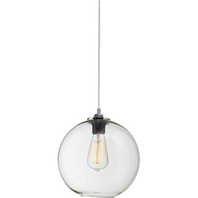 "Possini Euro Design Chrome Mini Pendant Light 9 3/4"" Wide Modern Industrial Clear Globe Glass Edison Bulb Fixture Kitchen Island"