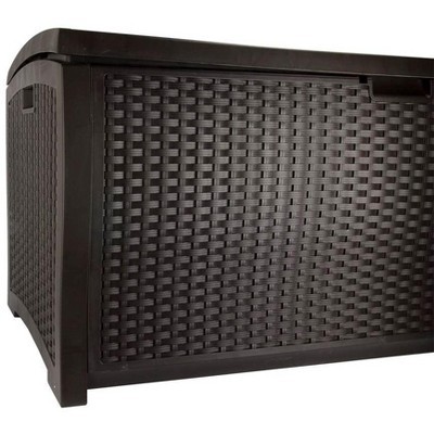 Suncast DBW9200 99 Gallon Outdoor Wicker Resin Patio Storage Chest Bin with Handles for Patio, Garden, Garage, or Pool for All Weather, Mocha