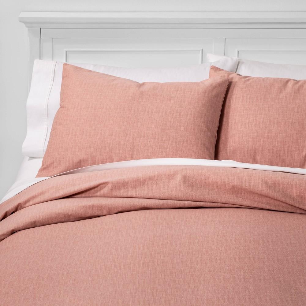 King Family Friendly Solid Duvet Pillow Sham Set Pink Threshold