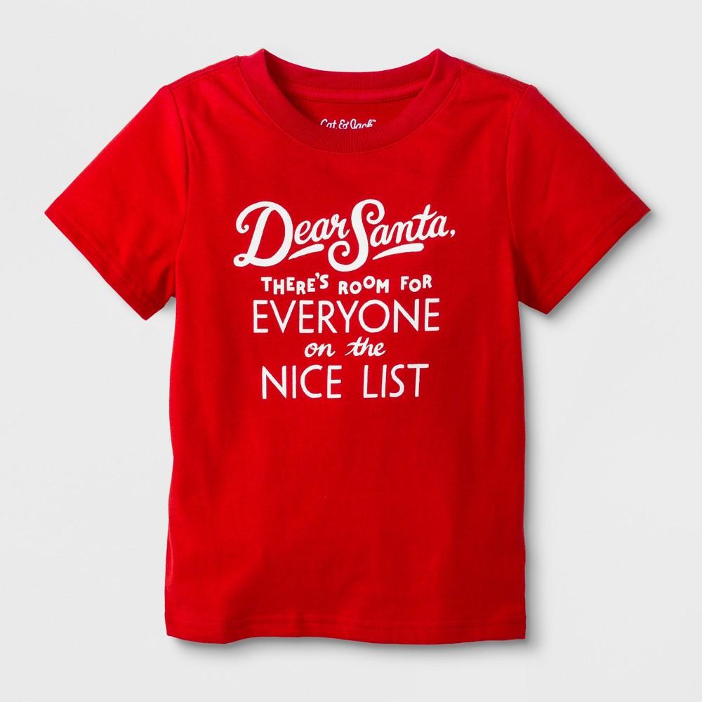 Toddler Short Sleeve 'Dear Santa' T-Shirt - Cat & Jack Red 4T, Toddler Unisex