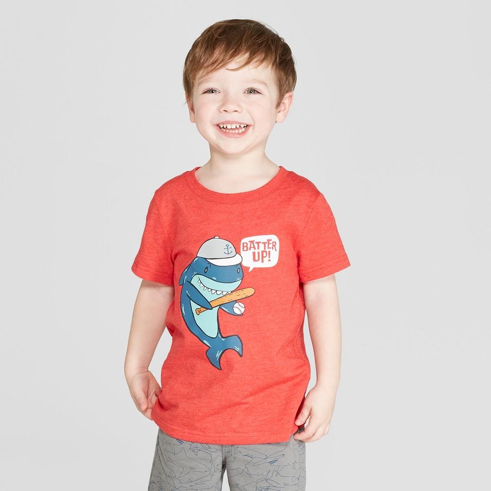 Toddler Boys' Short Sleeve Baseball Shark T-Shirt - Cat & Jack Red 3T