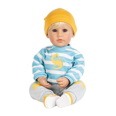 "Adora Toddler Doll ""Dino Boy"" in Striped and Dino print top, coordinating Dino Pants and Yellow Sneakers"