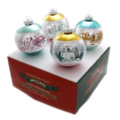 "Shiny Brite 4.0"" Vc Signature Flocked .. Vintage Celebration  -  Ornament Sets"