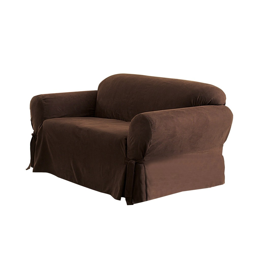 Soft Suede Loveseat Slipcover Chocolate Sure Fit