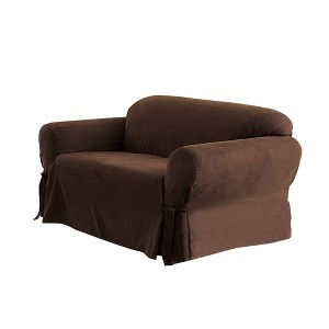Soft Suede Loveseat Slipcover Chocolate - Sure Fit, Brown