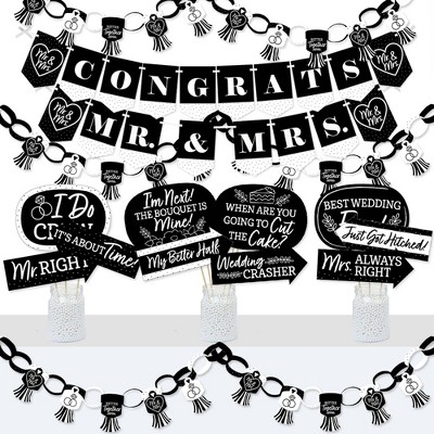 Big Dot of Happiness Mr. and Mrs. - Banner and Photo Booth Decorations - Black and White Wedding or Bridal Shower Supplies Kit - Doterrific Bundle