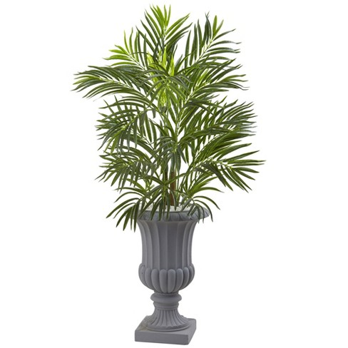 Artificial 3.5ft Areca Indoor/Outdoor Palm Tree with Gray Urn UV Resistant - Nearly Natural - image 1 of 2