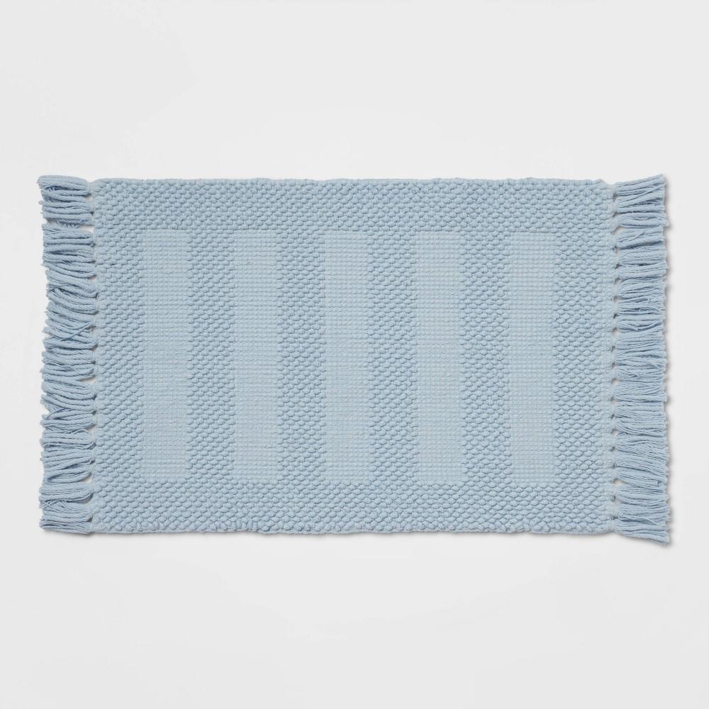 17 34 X24 34 Channel Bath Rug Light Blue Threshold 8482