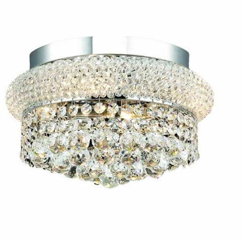Elegant Lighting 1800f12c Primo 4 Light Single Tier Flush Mount Crystal Chandelier Finished In Chrome
