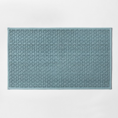 34 x20  Solid Diamond Weave Kitchen Rug Aqua - Made By Design™