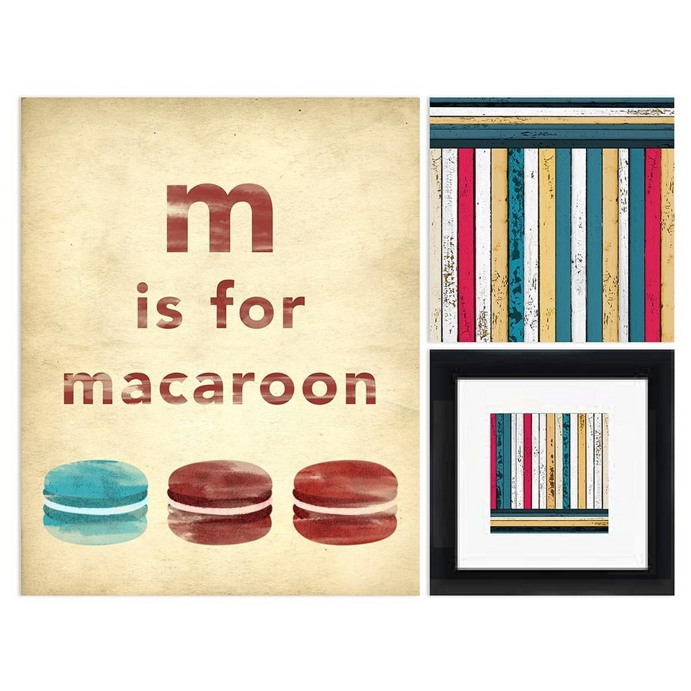 Macaroon Framed Wall Canvas (30x30), Multi-Colored
