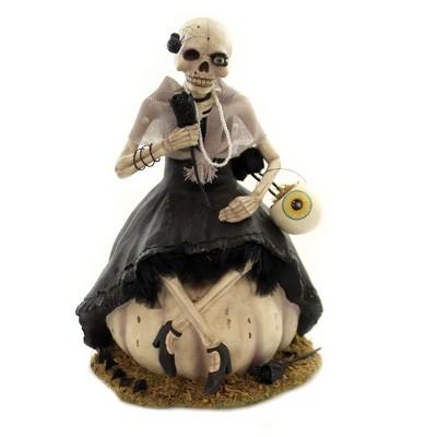 "Halloween 12.0"" Mrs Bones Skeleton On Pumpkin Halloween Love Marriage Grave  -  Decorative Figurines"