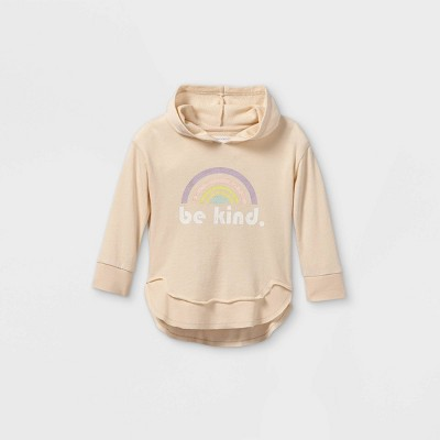 Grayson Mini Toddler Girls' 'Be Kind' Hoodie Sweatshirt - Tan