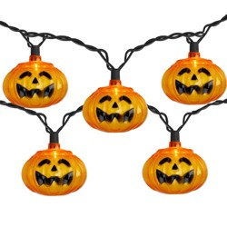 J. Hofert Co 10 Orange Jack-o'-Lantern Mini Halloween Lights - 6 ft Black Wire