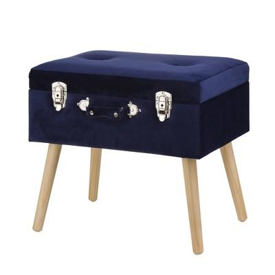 Velvet Upholstered Storage Stool with Black Legs - Glitzhome