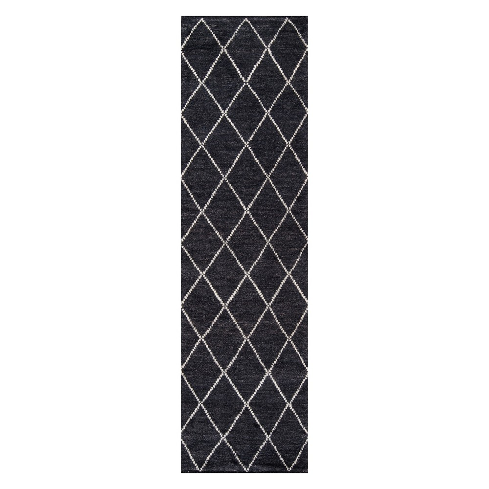 2'3X8' Trellis Knotted Runner Charcoal (Grey) - Momeni
