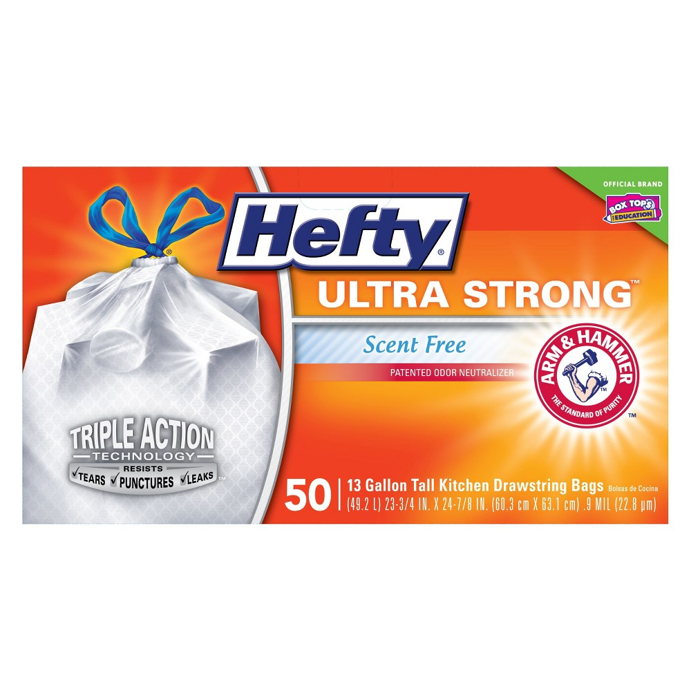 Hefty Ultra Strong Scent Free Tall Kitchen Drawstring Trash Bags - 50ct, White