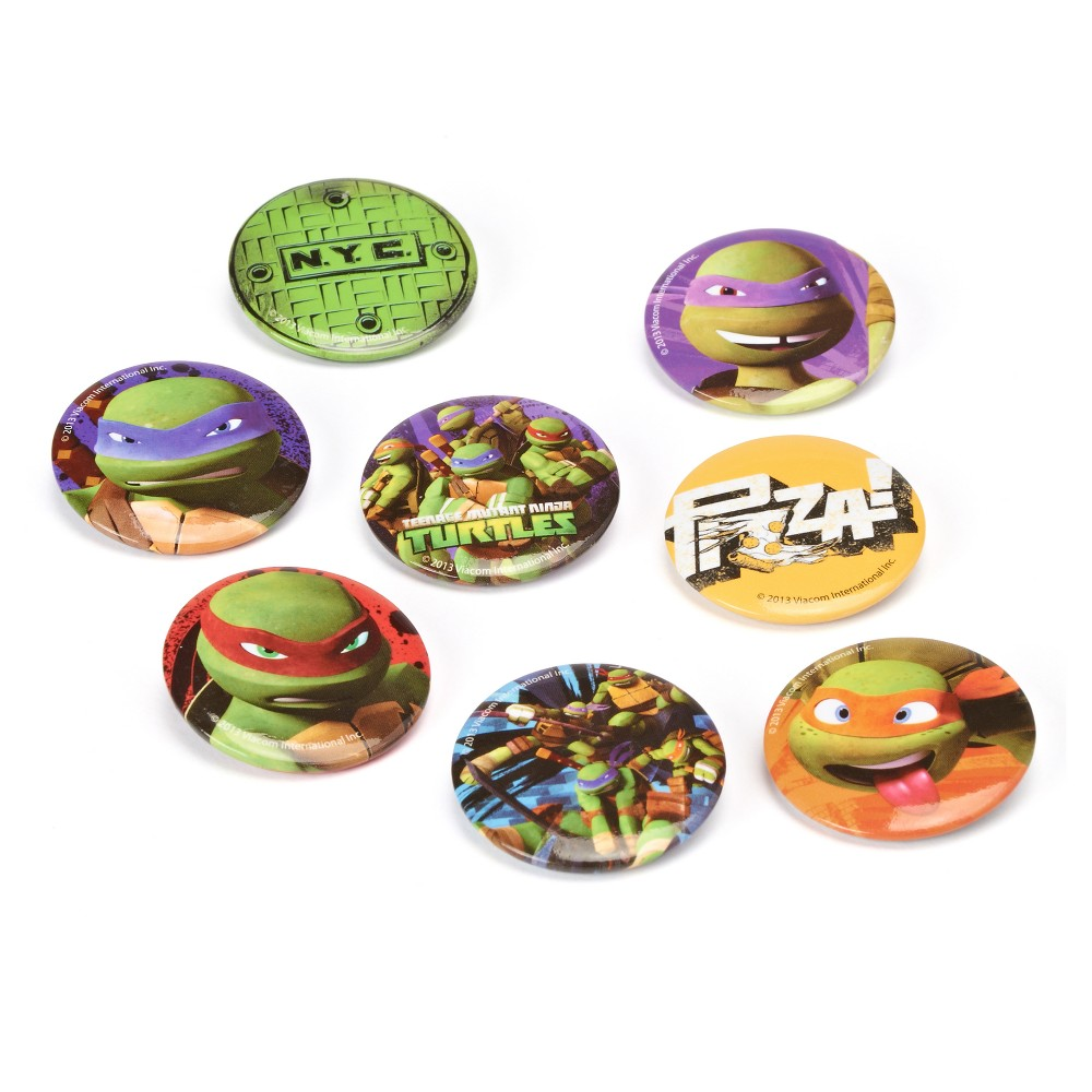 8ct Teenage Mutant Ninja Turtles Buttons Need help turtle-ising a gnarly Teenage Mutant Ninja Turtles themed party?! American Greetings offers a large selection of Tmnt party supplies, party favors, birthday decorations, tableware and invitations - now available on Amazon! Your totally bodacious bash will be a hit with these fun and festive party goods!Warning: This product contains functional sharp points. Warning: Choking Hazard - Small parts. Not for children under 3 years. Color: Multi-Colored. Gender: Unisex.