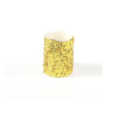 "Melrose 4"" Seasons of Elegance Gold Glittered Flameless LED Wax Christmas Pillar Candle"