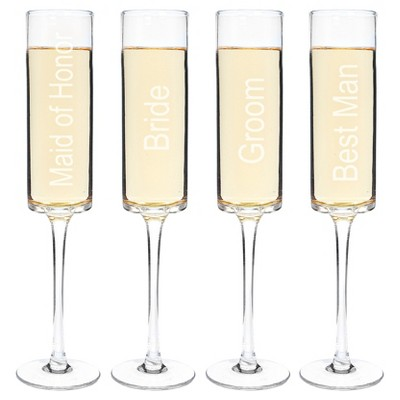 4ct Wedding Party Contemporary Champagne Flutes