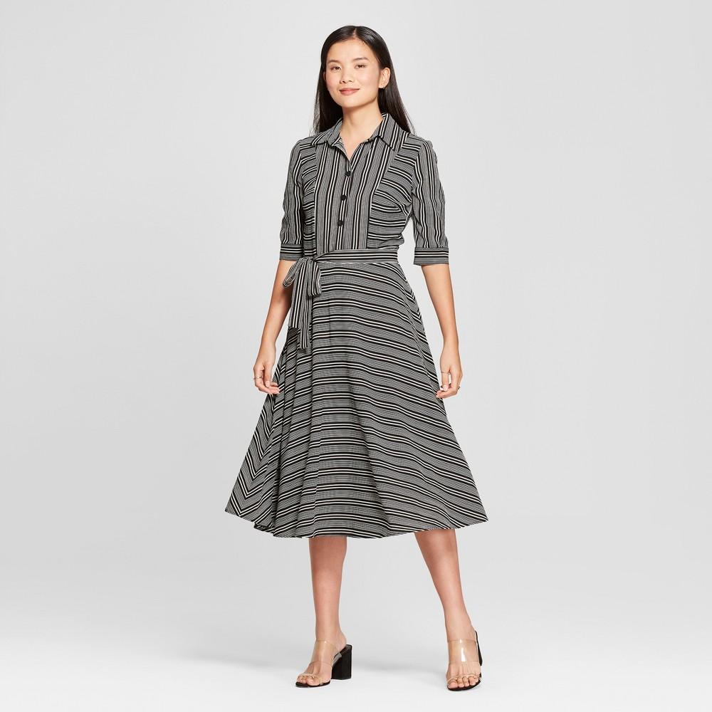 Image of Women's Striped Shirtdress - Melonie T - Black 10