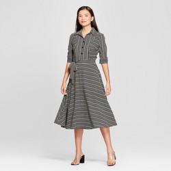 bc80d6cef7d13 Women's Striped Long Sleeve Quarter Zip Placed Rib Dress - Almost ...