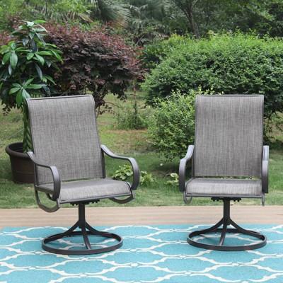 2pc Patio Swivel Rocking Chairs - Gray - Captiva Designs