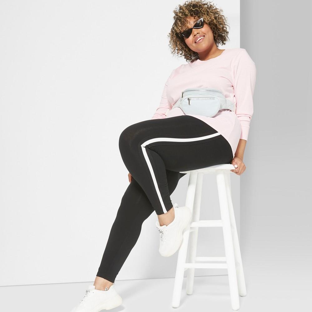 Women's Plus Size Side Striped Leggings - Wild Fable Black 2X